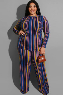 Blue Polyester Sexy O Neck Two Piece Suits Print Striped Stripe Plus Size Two Pieces OH56045