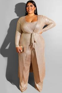 Gold Polyester Sexy Fashion adult O Neck Bandage Three-Piece Suits Hot stamping Plus Size Two Pieces OH56044