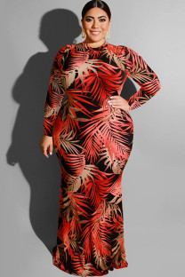 Wine Red Polyester Sexy O Neck HOLLOWED OUT Print Pattern Plus Size Dresses OH56043