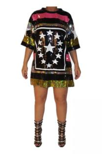 Multi-color Chlorine Casual Fashion adult O Neck perspective Mesh Sequin Embroidery Stripe Star Plus Size Tops IF65052