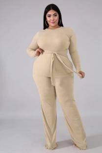 Khaki Polyester Active Fashion Solid Bandage Two Piece Suits Loose Long Sleeve Two-piece Pants Set WY361243