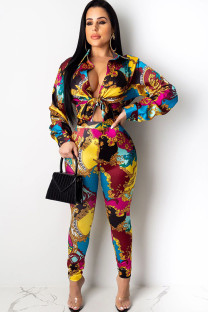 Multi-color Polyester Casual Two Piece Suits Print pencil Long Sleeve Two-piece Pants Set YC461299