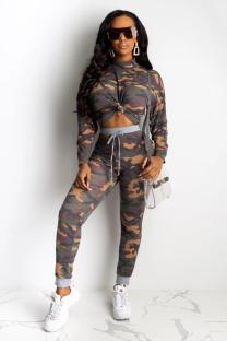 Brown Polyester Fashion adult Sexy Bandage Print Two Piece Suits Camouflage pencil Long Sleeve Two-piece Pants Set CY771261