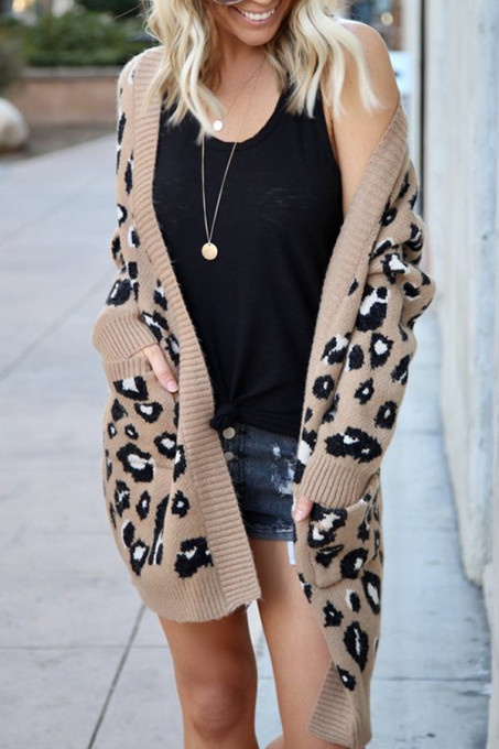 Khaki cardigan Two Piece Suits Leopard Leopard Print Sticky Others Long Sleeve Long Sleeve  MMY01002