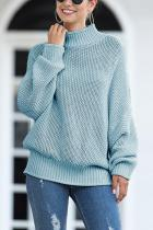 Blue Turtleneck Solid Acrylic Pure Long Sleeve  Sweaters & Cardigans MMY01035