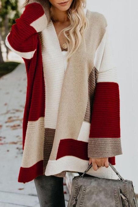 Wine Red cardigan Patchwork Geometric Cotton Others Long Sleeve  MMY01015