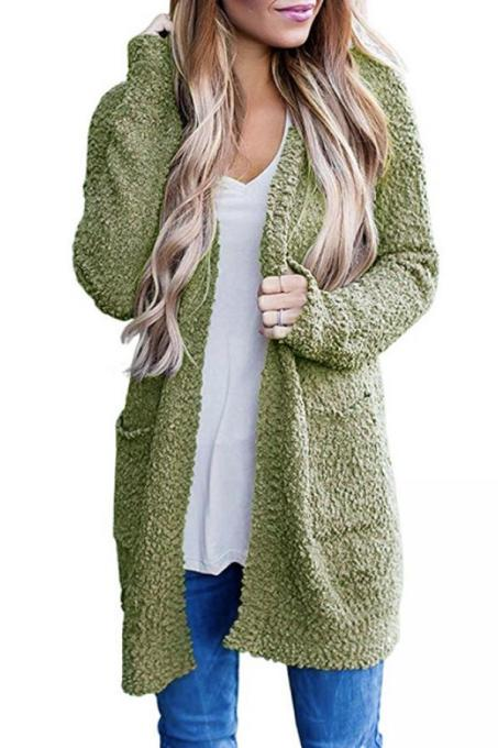 Green V Neck Solid Polyester Pure Long Sleeve  Sweaters & Cardigans MMY01021