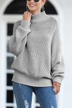 Grey Turtleneck Solid Acrylic Pure Long Sleeve  Sweaters & Cardigans MMY01035
