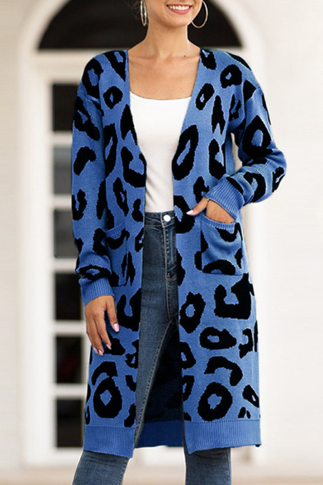 Blue V Neck Leopard Cotton Others Long Sleeve  MMY01004