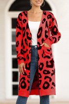 Red V Neck Leopard Cotton Others Long Sleeve  MMY01004