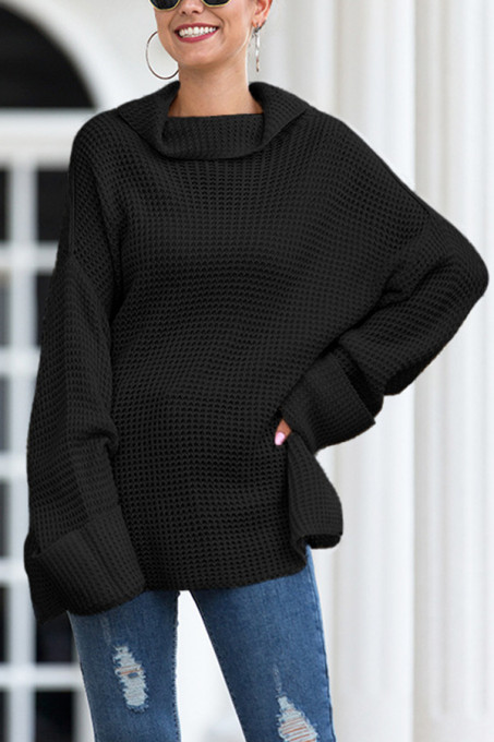 Black Turtleneck Split Solid Acrylic Pure Long Sleeve  Sweaters & Cardigans MMY01020