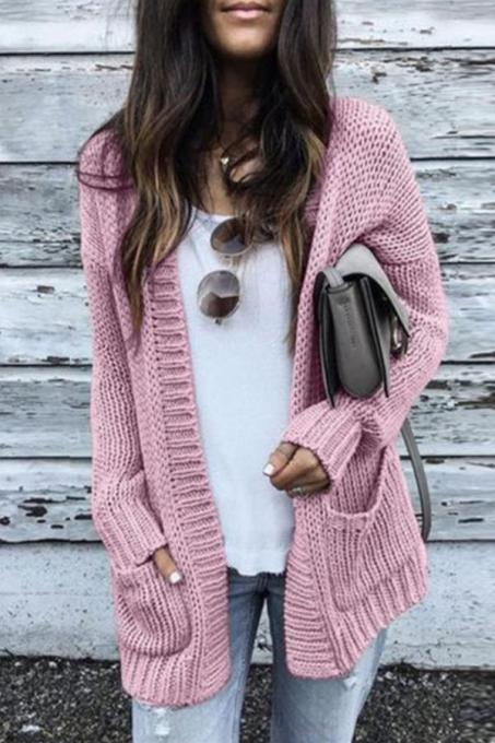 Pink cardigan Solid Cotton Pure Long Sleeve  MMY01006