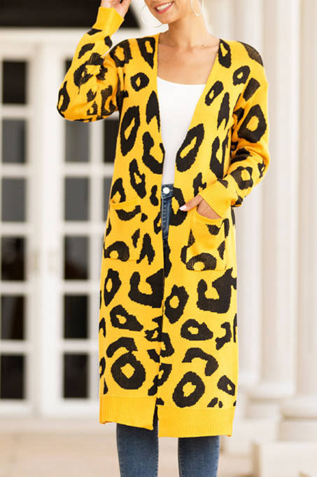 Yellow V Neck Leopard Cotton Others Long Sleeve  MMY01004