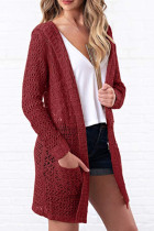 Wine Red hooded Solid Polyester Pure Long Sleeve  Sweaters & Cardigans MMY01049