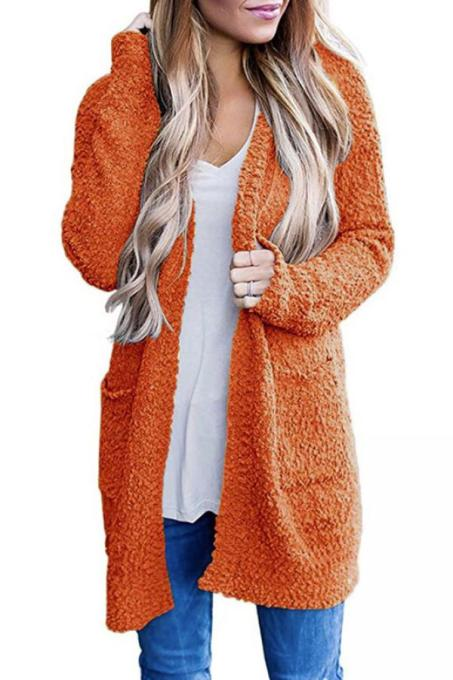 tangerine V Neck Solid Polyester Pure Long Sleeve  Sweaters & Cardigans MMY01021