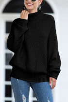 Black Turtleneck Solid Acrylic Pure Long Sleeve  Sweaters & Cardigans MMY01035