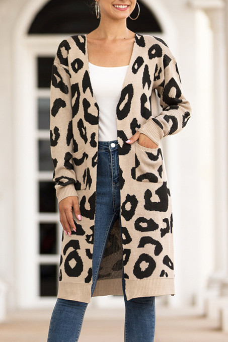 Khaki V Neck Leopard Cotton Others Long Sleeve  MMY01004