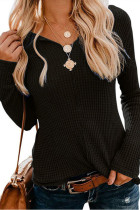 Black V Neck Solid knit Pure Long Sleeve  Sweaters & Cardigans MMY01050