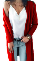 Red V Neck Solid Acrylic Pure Long Sleeve  Sweaters & Cardigans MMY01023