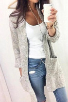 Grey V Neck Solid Cotton Pure Long Sleeve  Sweaters & Cardigans MMY01038