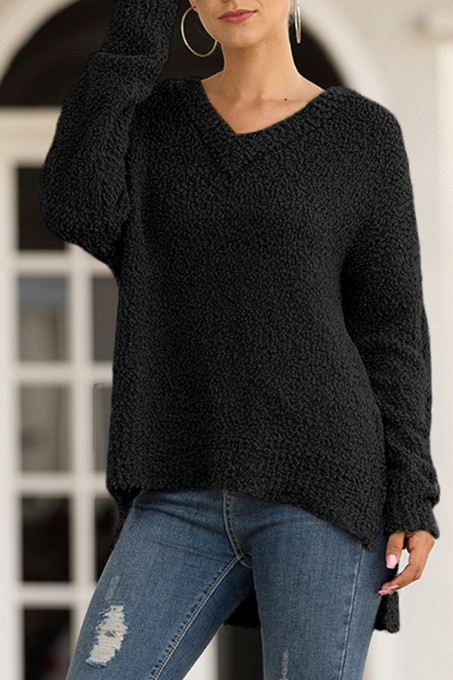 Black V Neck Solid Polyester Pure Long Sleeve  MMY01014