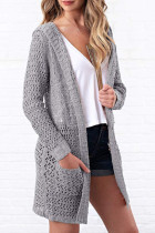 Grey hooded Solid Polyester Pure Long Sleeve  Sweaters & Cardigans MMY01049