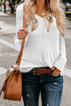 White V Neck Solid knit Pure Long Sleeve  Sweaters & Cardigans MMY01050