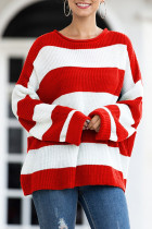 Red O Neck O Neck Patchwork Striped Solid Sticky Striped Long Sleeve Long Sleeve  MMY01012