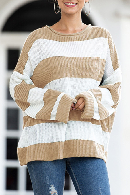 Khaki O Neck O Neck Patchwork Striped Solid Sticky Striped Long Sleeve Long Sleeve  MMY01012