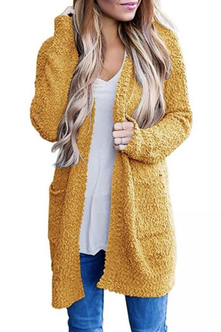 Yellow V Neck Solid Polyester Pure Long Sleeve  Sweaters & Cardigans MMY01021