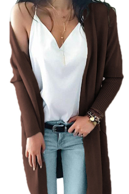 Coffee V Neck Solid Acrylic Pure Long Sleeve  Sweaters & Cardigans MMY01023