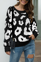 Black O Neck Leopard knit Others Long Sleeve  Sweaters & Cardigans MMY01075