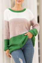 Green O Neck Patchwork Acrylic Others Long Sleeve  Sweaters & Cardigans MMY01061