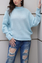 Blue Turtleneck Solid Patchwork knit Pure Long Sleeve  Sweaters & Cardigans MY002008