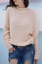 Pink Turtleneck Solid Patchwork knit Pure Long Sleeve  Sweaters & Cardigans MY002008