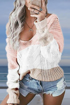 Pink V Neck HOLLOWED OUT Patchwork Solid Cotton Pure Long Sleeve  Sweaters & Cardigans MYH17009