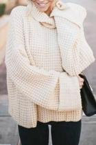 White Turtleneck Solid Patchwork knit Pure Long Sleeve  Sweaters & Cardigans MYH17011