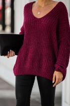 Wine Red V Neck Solid Patchwork knit Pure Long Sleeve  Sweaters & Cardigans HC15006