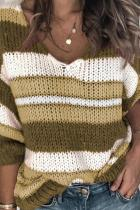 Yellow V Neck Patchwork Striped knit Striped Long Sleeve  Sweaters & Cardigans HC15004