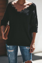 Black V Neck Patchwork Solid Cotton Pure Long Sleeve  Sweaters & Cardigans MYH17010