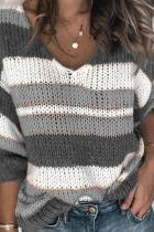Grey V Neck Patchwork Striped knit Striped Long Sleeve  Sweaters & Cardigans HC15004
