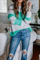Green O Neck Striped Patchwork knit Striped Long Sleeve  Sweaters & Cardigans HC15005