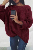 Wine Red O Neck Patchwork Solid Cotton Pure Long Sleeve  Sweaters & Cardigans MYH17007