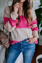 Pink O Neck Striped Patchwork knit Striped Long Sleeve  Sweaters & Cardigans HC15005