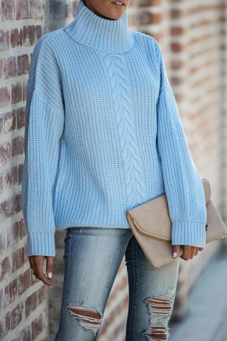 Sky Blue Turtleneck Solid Patchwork knit Pure Long Sleeve  Sweaters & Cardigans HC15015