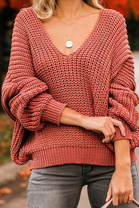 Pale red V Neck Solid Cotton Pure Long Sleeve  Sweaters & Cardigans HC15018