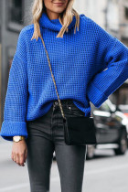 Blue Turtleneck Striped Solid Patchwork knit Pure Long Sleeve  SF16010