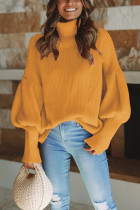 Yellow Turtleneck Solid Patchwork knit Pure Long Sleeve  Sweaters & Cardigans SF16013