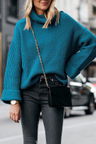 Green Turtleneck Striped Solid Patchwork knit Pure Long Sleeve  SF16010