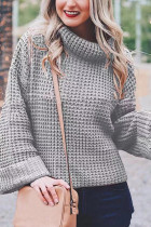 Grey Turtleneck Striped Solid Patchwork knit Pure Long Sleeve  SF16010